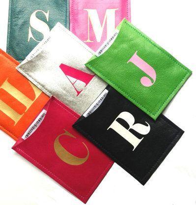 Sasha Personalized Monogram Leather Business Card Holder Leather Business Card Holder Leather Business Cards Business Card Sleeve