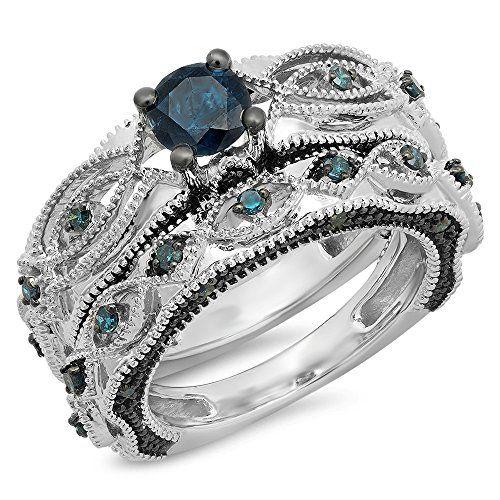 a70db777c 1.05 Carat (ctw) 14K White Gold Round Blue Diamond Bridal Vintage  Engagement Ring Set