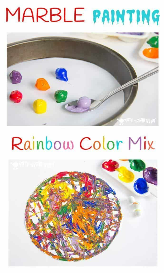 RAINBOW MARBLE PAINTING - Have fun creating dynamic kids art with colorful marble painting idea. Kids will love experimenting with painting and color mixing in a new and physical way. A fun process art for kids. #kidscraftroom #processart #kidsart #painti #marblepainting