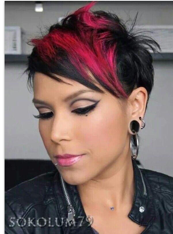 Short Hair Funky Pink And Black Cute Hairstyles For Short Hair Hair Styles Sassy Hair