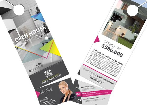 Real Estate Door Hanger Rip Cards Template 07 Door Hanger Rip Cards Door Hanger Printing Cards Business Card Holders