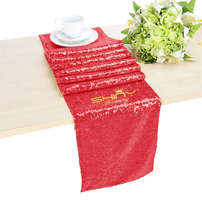 Red Sequin Table Runner For Wedding/Events Decoration 13x108in( Can Choose  Your Color) (Red Color )
