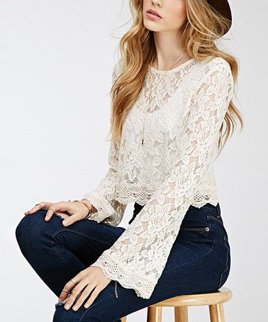 20c22a642 White Lace Bell-Sleeve Top   Save to Closet   Fashion, Crop blouse, Lace