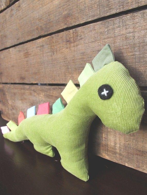 Dinosaur hecho a mano de la felpa de la tela de pana con Etiquetas - Apio Verde…