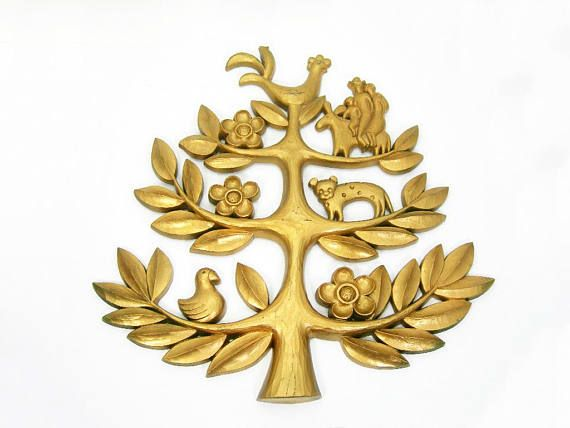 Golden Tree of Life Wall Plaque - South American Theme - Vintage ...