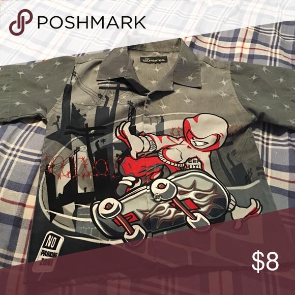 Boys shirt Short sleeve gray shirt with roller skater on it Tops Tees - Short Sleeve