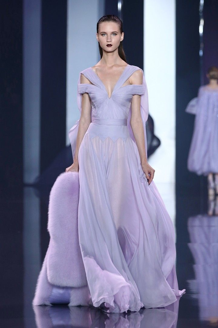 Lavender silk chiffon pleated off the shoulder gown with