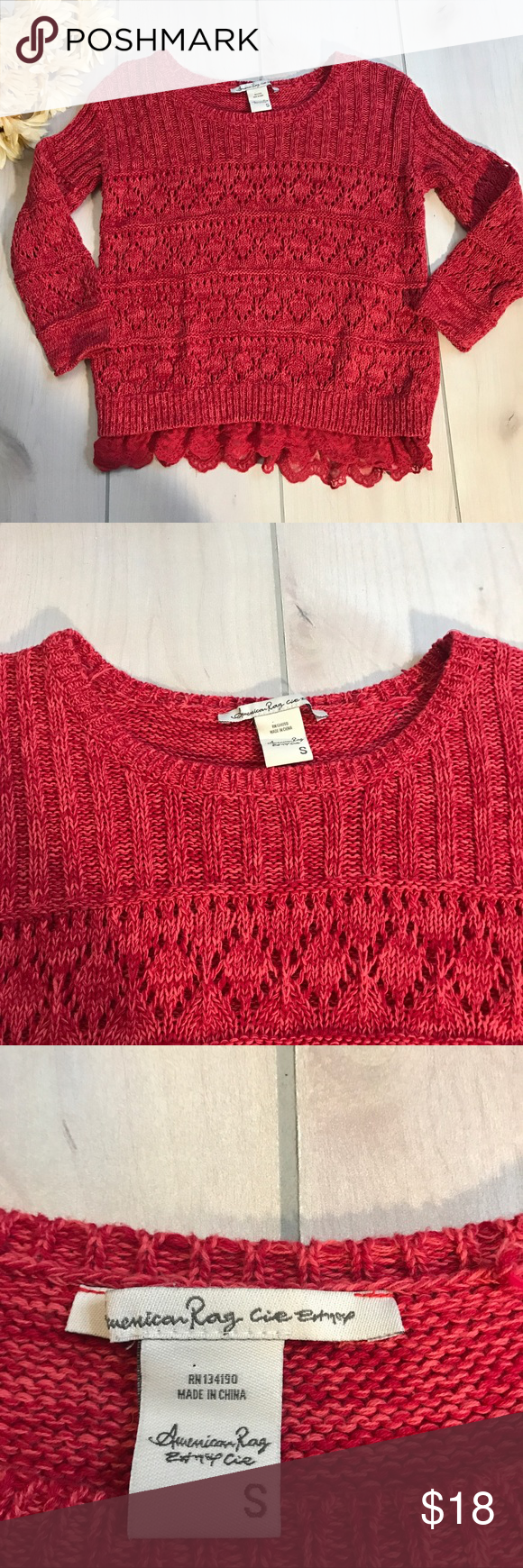 cddbd9be8 American Rag Red loose knit and lace sweater