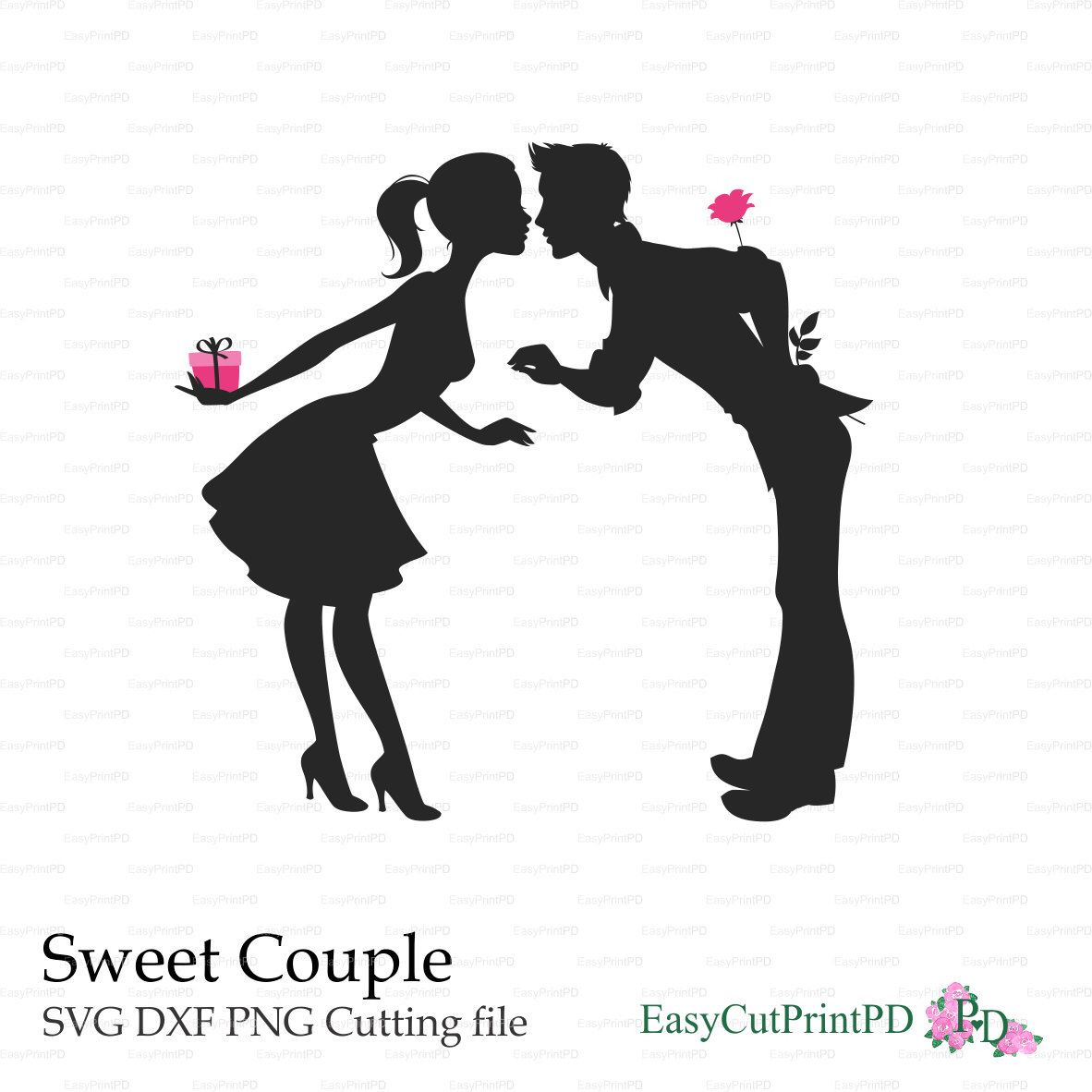 Love Sweet Couple Valentine S Day Lovers Kisses Paper Cut Card Svg