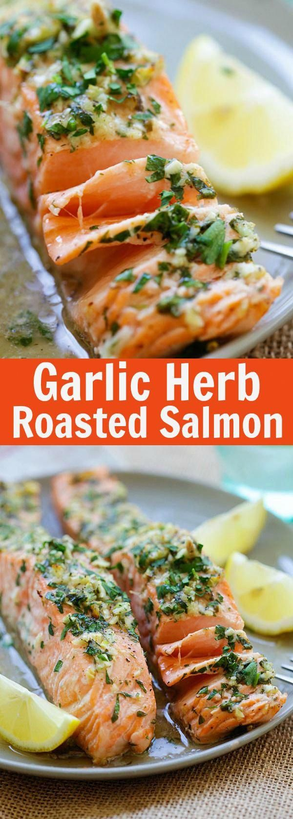 Garlic Herb Roasted Salmon – best roasted salmon recipe ever! Made with butter, garlic, herb, lemon...