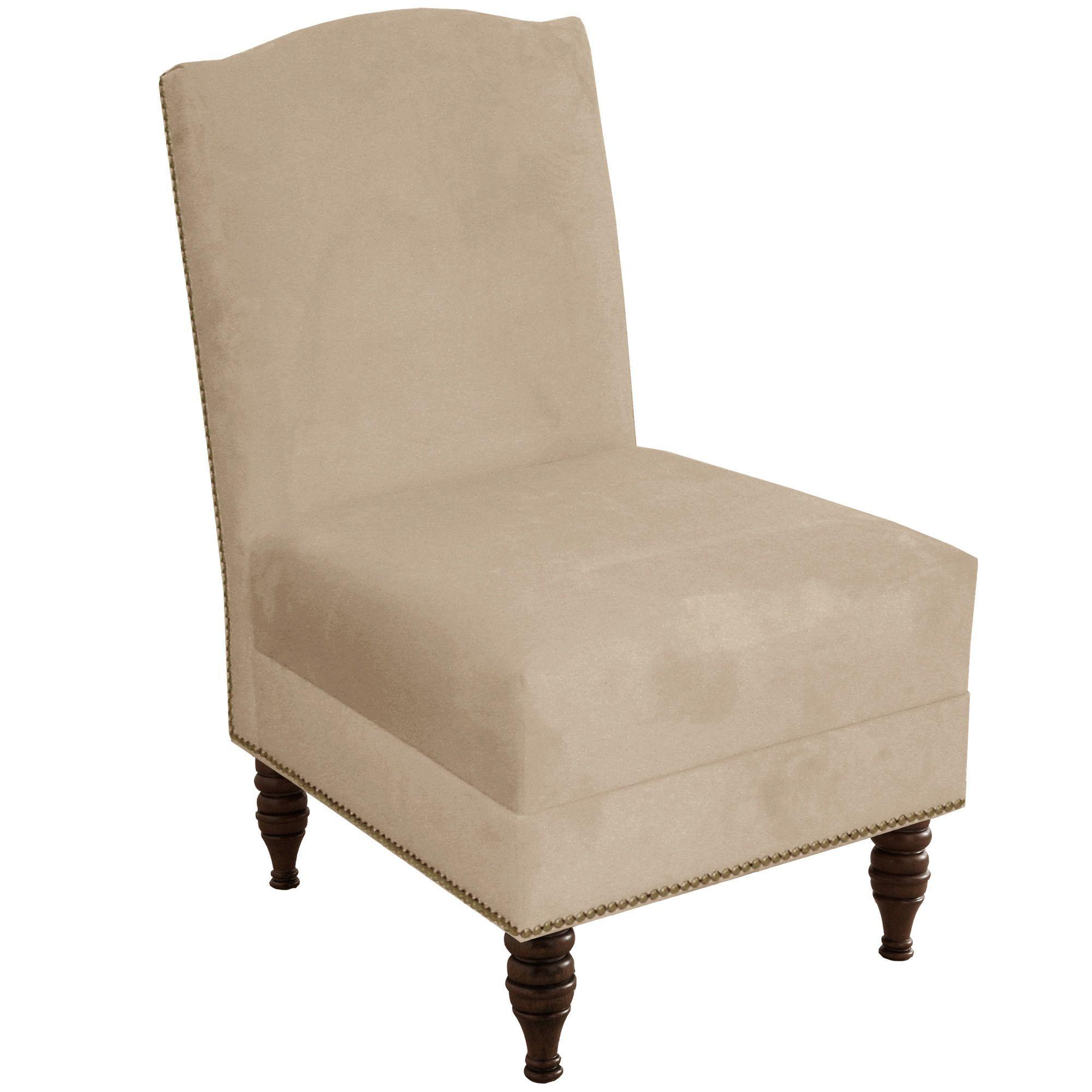 Deneuve Velvet Armless Nail Button Chair