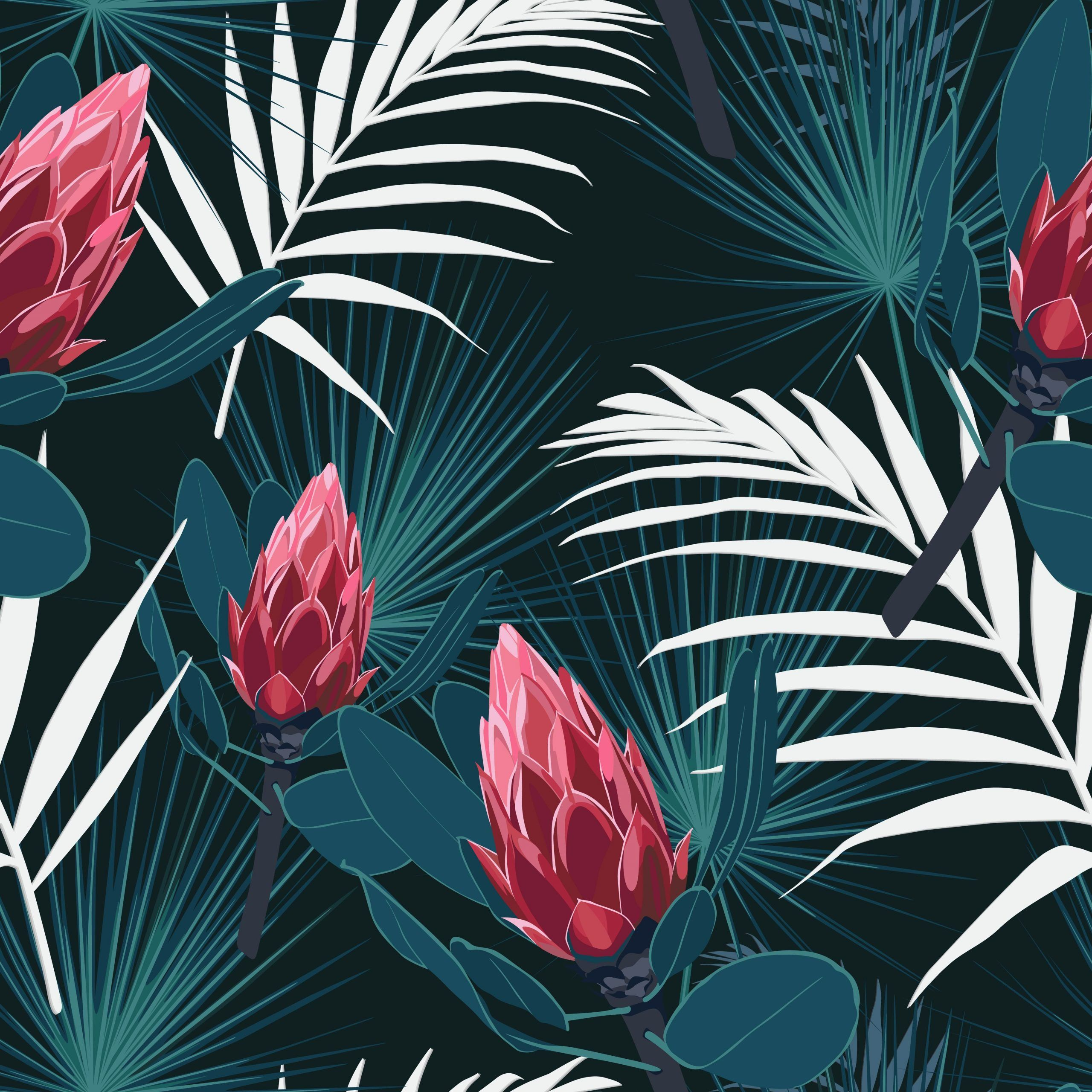 Seamless Tropical Pattern Vivid Tropic Foliage With Palm Leaves Red Protea Fl Foliage Leaves Palm Patt In 2020 Tropical Artwork Protea Flower Tropical Pattern