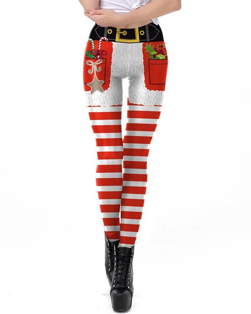 11b7b851559e9 Christmas Candy Gift Shorts Pattern Printed Womens Workout Leggings –  pinkfad