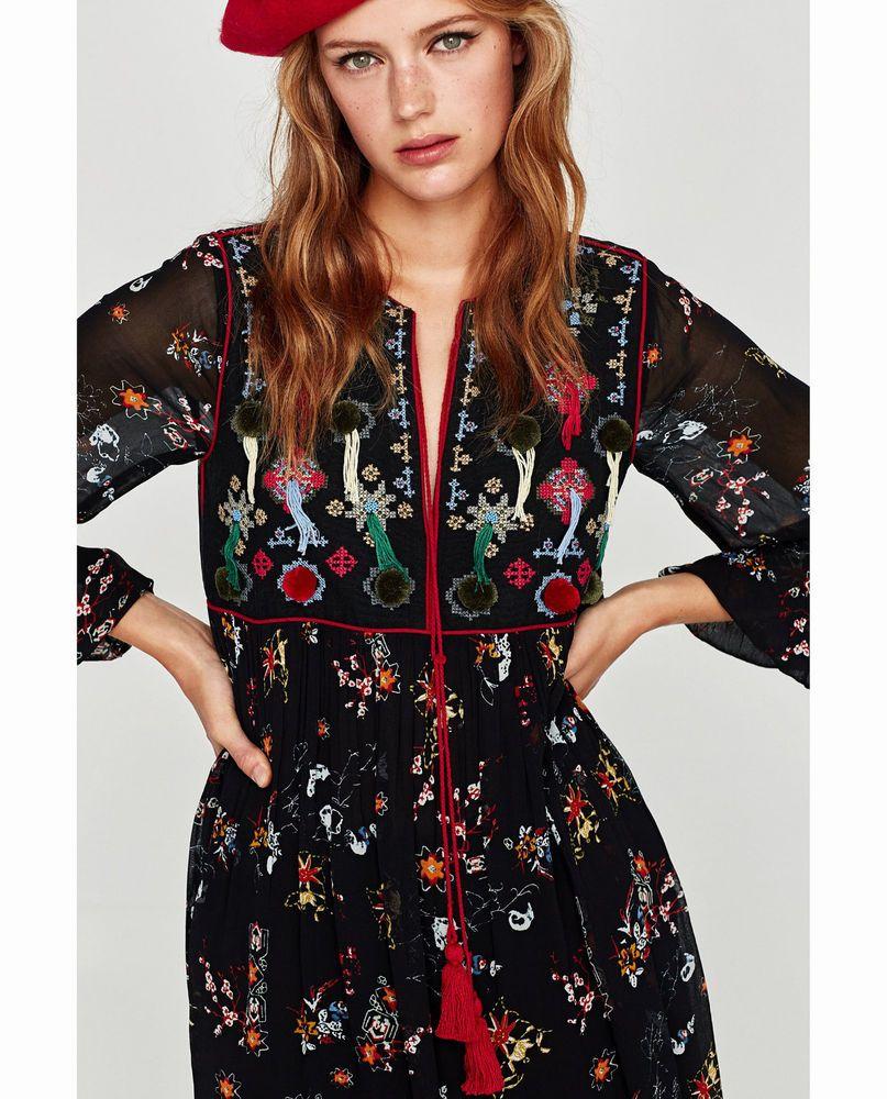 e0ddce14363 ZARA Floral Embroidered Pom Pom Tassel Dress M Medium BNWT #ZARA  #BohoHippie #Everyday