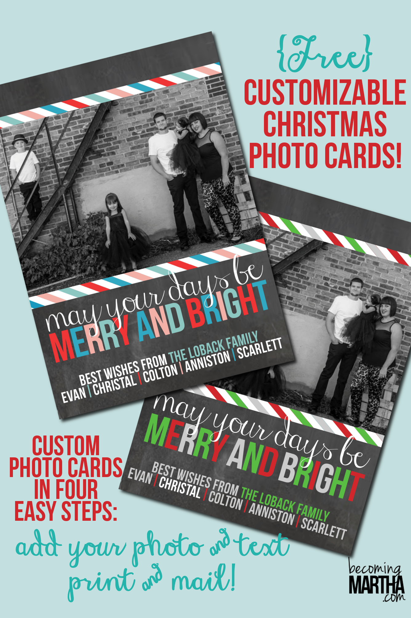 Free Printable Christmas Cards {Customize with Your Own