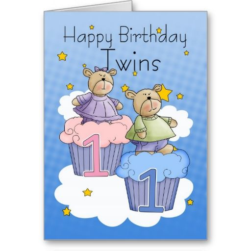 Twins First Birthday Card Two Little Bears Zazzle Com First Birthday Cards Birthday Cards 1st Birthday Cards