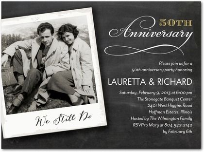 Anniversary Invitations Precious Polaroid  Front  Black  Craft