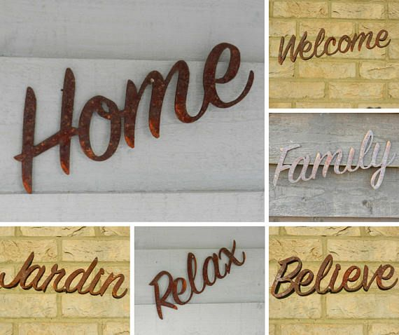Rusty Metal Sign She Shed Sign Believe Sign Jardin Sign Family Sign Games Room Sign Welcome Sign Relax Sign Home Sign Rusty Metal Believe Sign Rustic House Signs