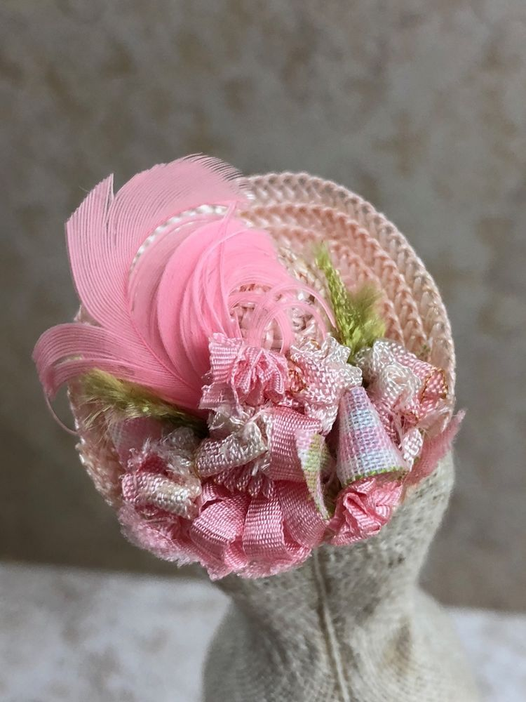 960631a6aac10 Vintage Miniature Dollhouse Baby Pink Straw Hat Gingham Ribbon Ostrich  Feathers  Unbranded Tiny Treasures