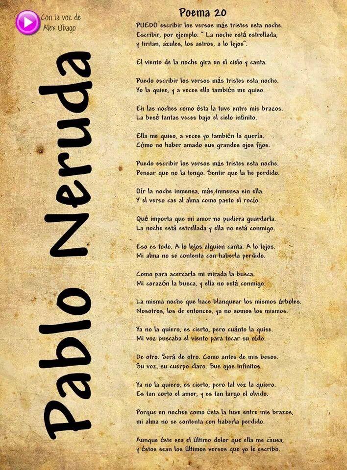 Puedo Escribir Los Versos Más Tristes Esta Noche Pablo Neruda Poetry Inspiration Pretty Quotes