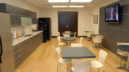 Grey white hardwood floor workspace ideas for Office lunch room design ideas