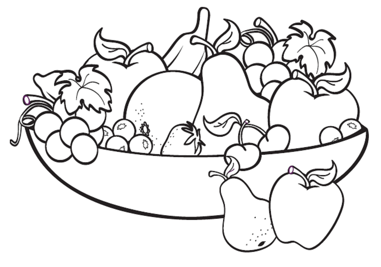 Fruit bowl drawing fruit basket drawing fruits drawing food coloring pages coloring