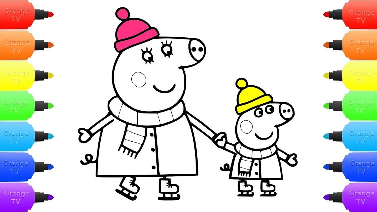 How to Draw Peppa Pig Coloring Page | Drawing and Coloring Book Peppa Pi...