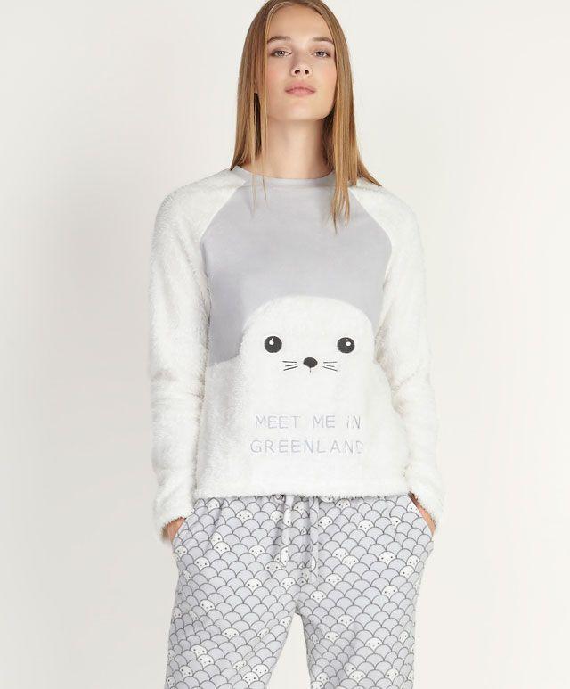 e475e8fa4b Grey seal top - OYSHO Sleepwear Women