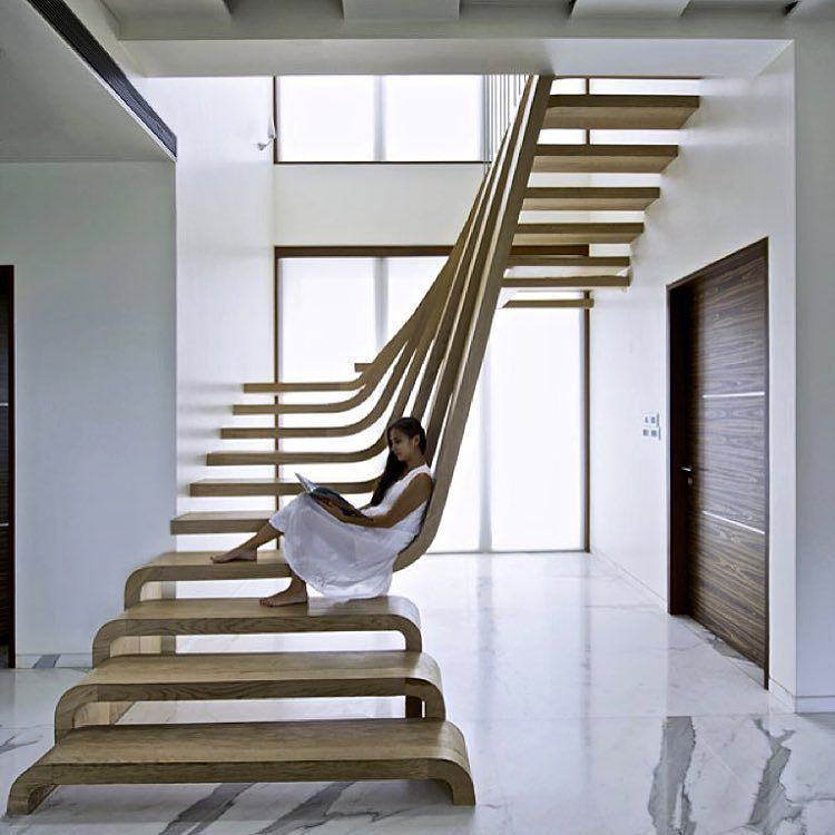 Best Residential Apartment Interior With Sculptural Staircase 400 x 300