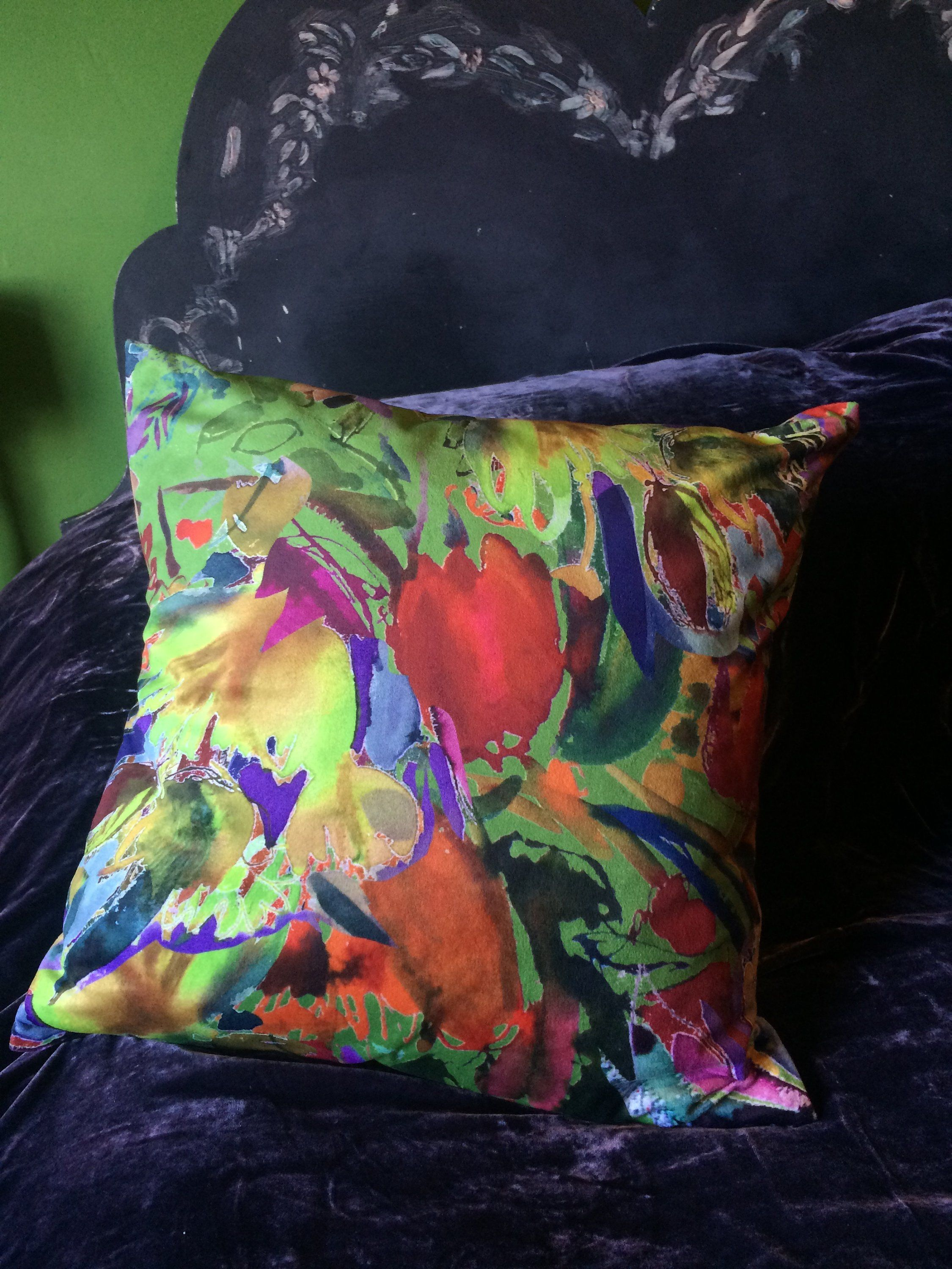 Abstract floral cushion cover green velvet fast post