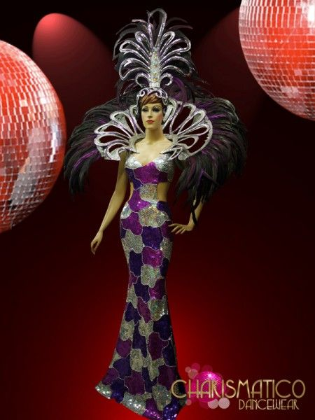 7dec0f10077e drag queen costume | Electric drag queen purple sequin CABARET SHOW GIRL  Gown + Feather .