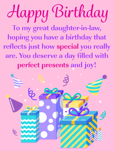 Perfect Presents Happy Birthday Card For Daughter In Law Birthday Greeting Cards By Davia Happy Birthday Wishes Cards Happy Birthday Cards Happy Birthday Daughter