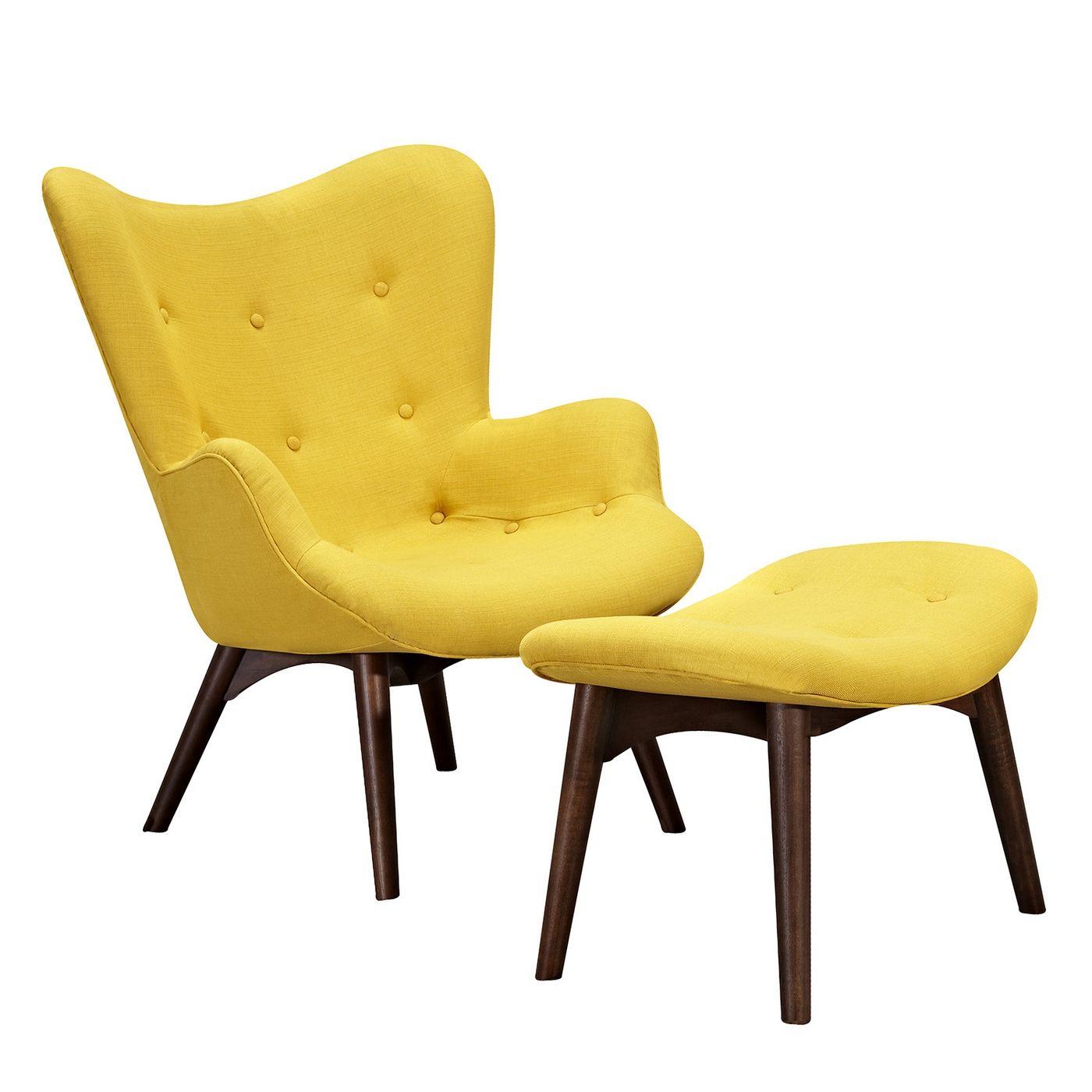 Aiden Mid Century Modern Yellow Fabric Chair Ottoman In Walnut