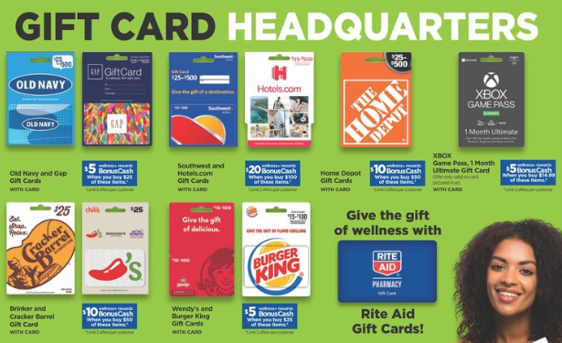 Rite Aid Gift Card Deals 20 Bonuscash For Home Depot Southwest Hotels Com And More Gift Card Deals Gift Card Cards