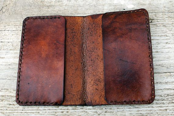 TWO POCKET Compass Leather Passport Cover Genuine by Exsect