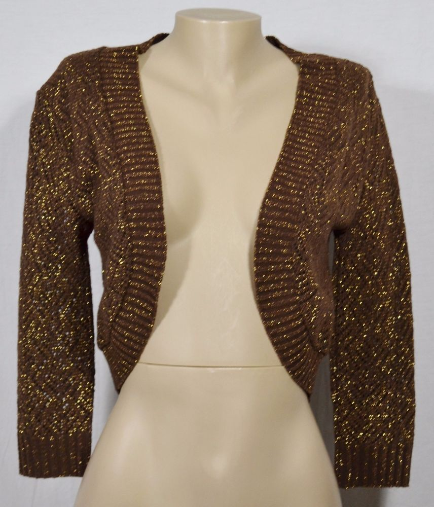 CACHE Sparkly Brown Open Cardigan Sweater Bolero Shrug Large Open ...