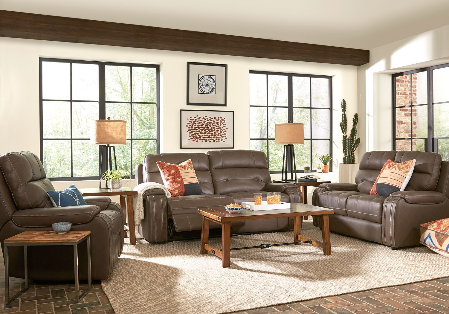 Italo Brown Leather 2 Pc Living Room With Reclining Sofa Living Room Leather Living Room Sets Reclining Sofa