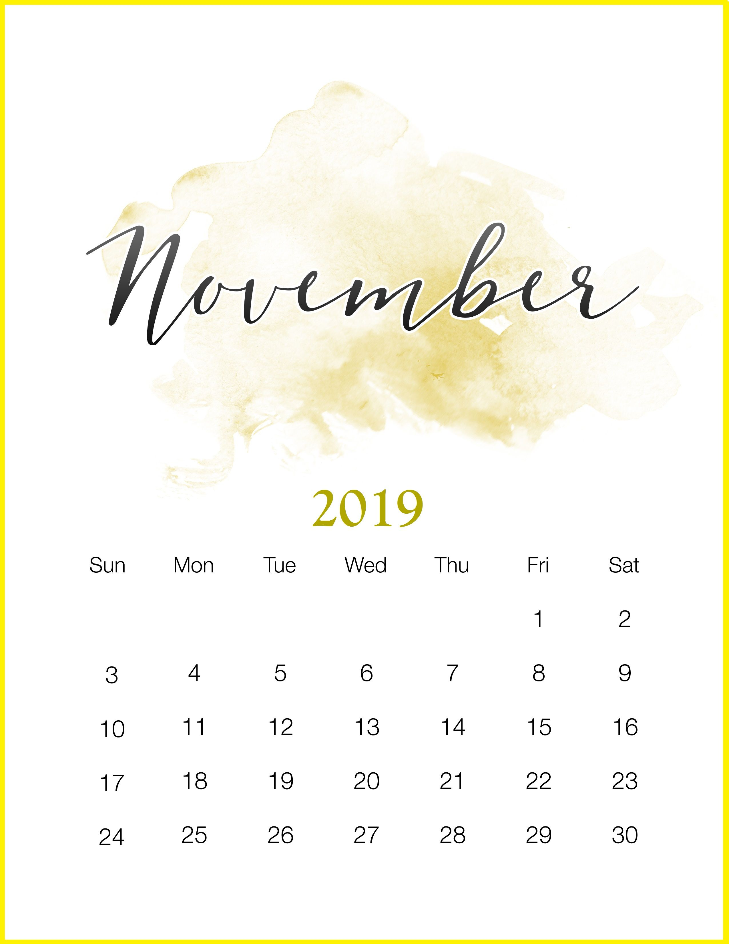 Watercolor 2019 Monthly Printable Calendar Calendário