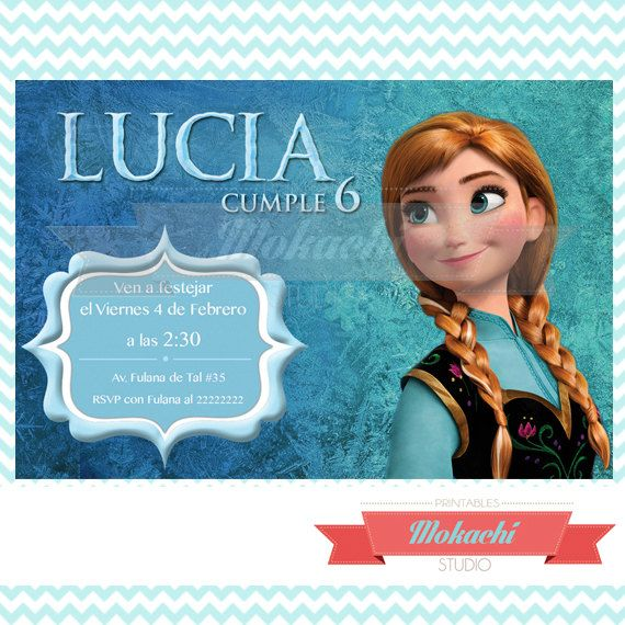Anna Frozen Birthday Invitation Por Mokachistudio En Etsy