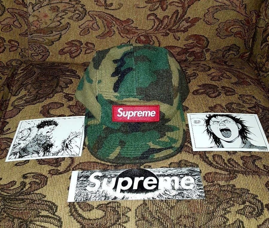 468c1e60a0c Supreme Wool Camo Box Logo Patch 5 panel Camp cap Green w Akira Sticker  pack  Supreme  5PanelCampcap