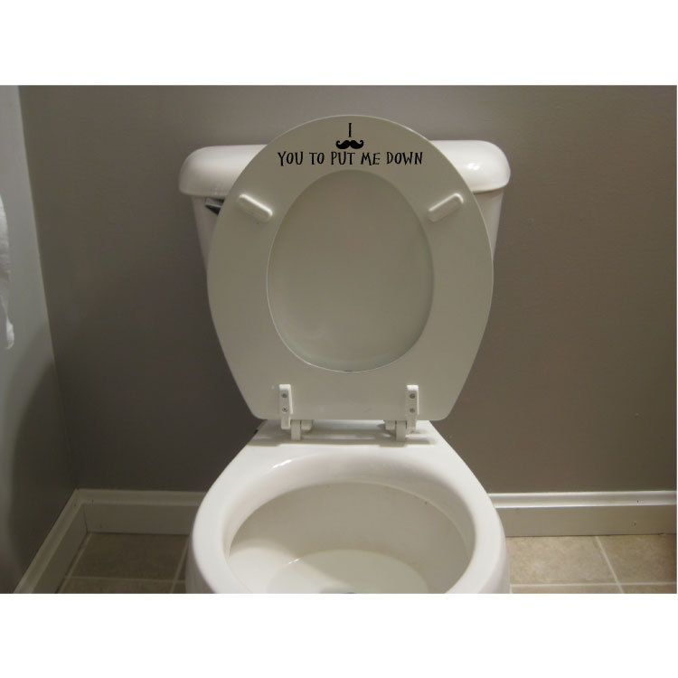 Funny Mustache Toilet Seat Decal Sticker Put The Seat Down Decal