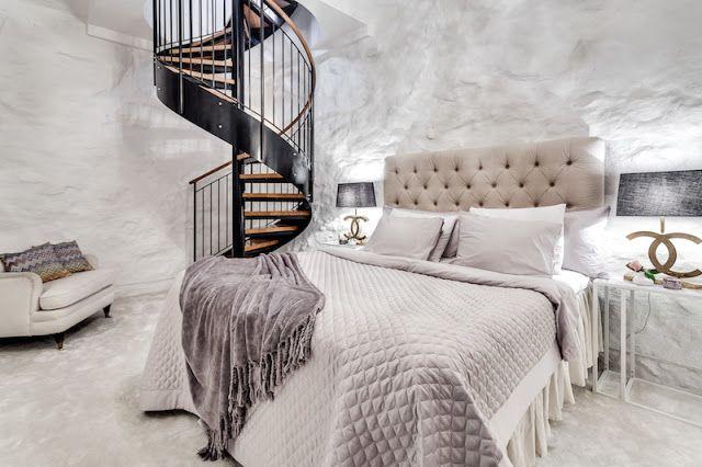Blog wnętrzarski - design, nowoczesne projekty wnętrz: Małe dwupoziomowe mieszkanie z sypialnią w piwnicy ...