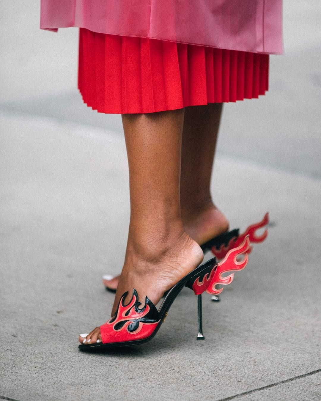 2e8a7ea9f00 Street style on fire this #NYFW! Shoes are Prada Flame-Detailed ...