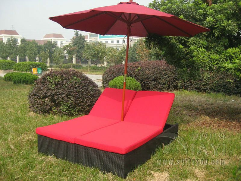 Comfortable Outdoor Rattan Daybed , Wicker Double Chaise Lounge Transport  By Sea(China (Mainland