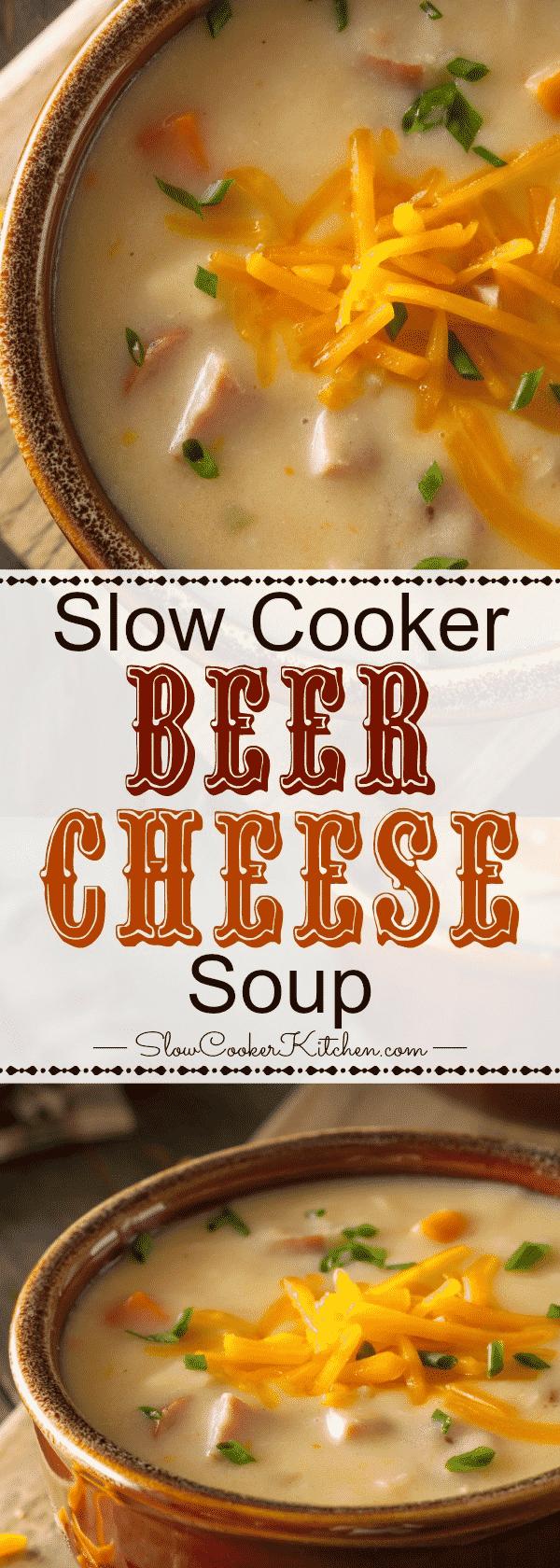 Slow Cooker Beer Cheese Soup #slowcookercrockpots