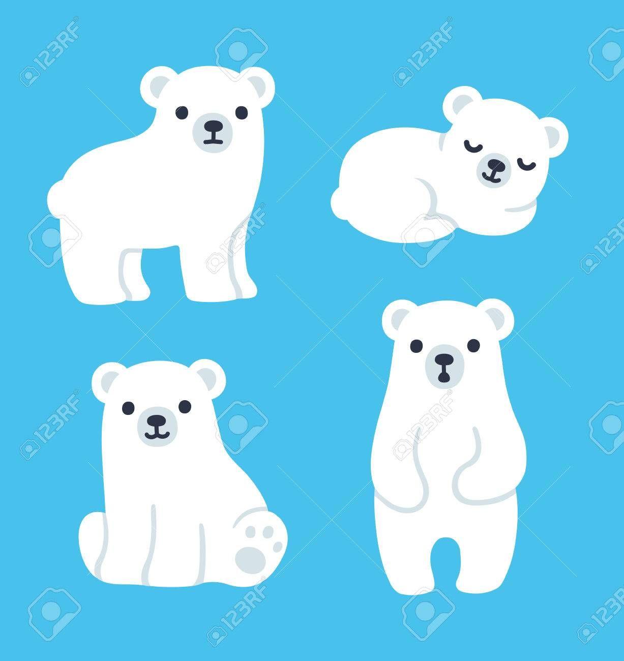 Cute Cartoon Polar Bear Cubs Collection Simple Modern Style Polar Bear Drawing Polar Bear Cartoon Baby Polar Bears
