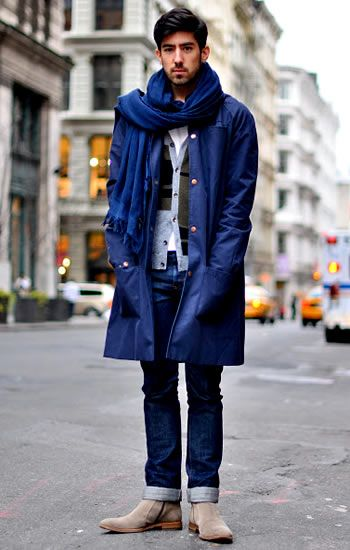 Blue overcoat with cuffed jeans and tan Chelsea boots | Mens ...