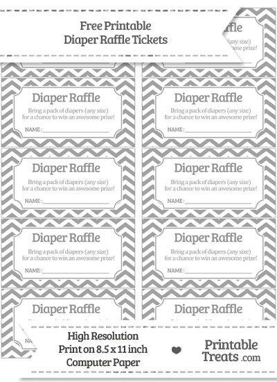 Free Pastel Grey Chevron Diaper Raffle Tickets Kaelynns
