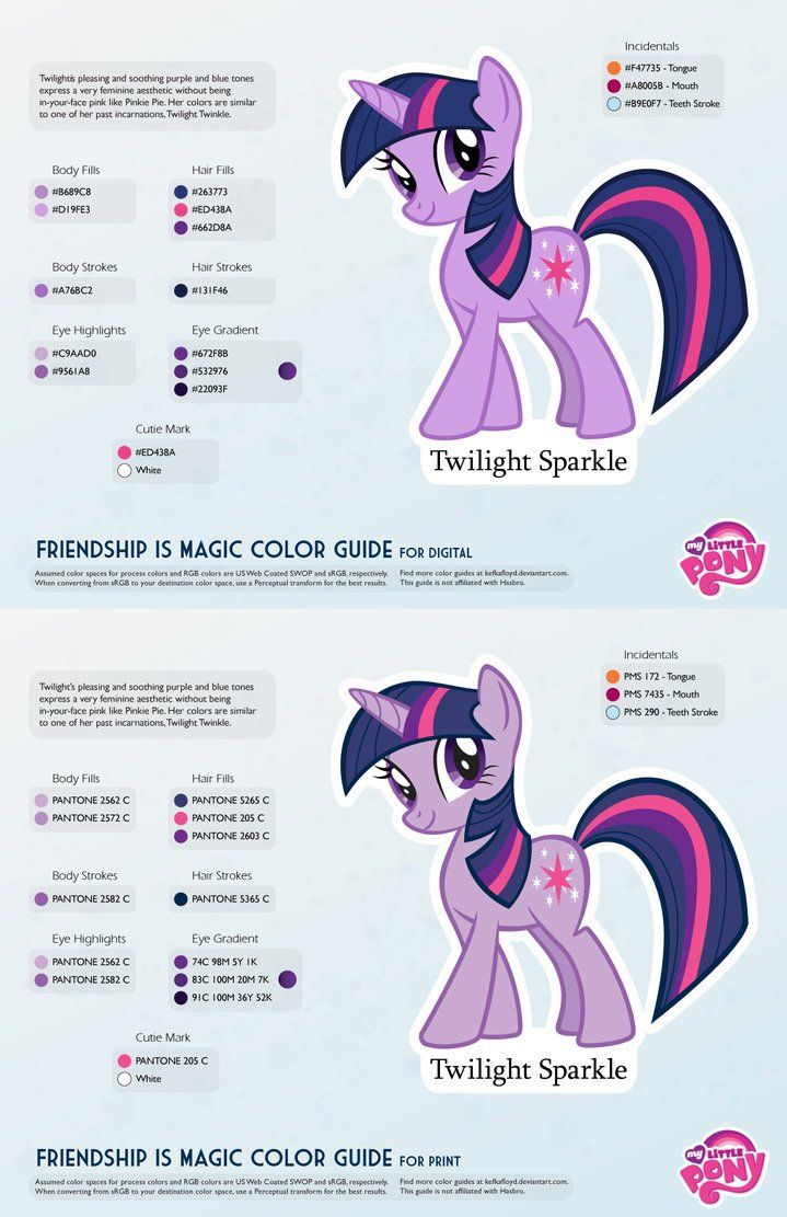 Twilight sparkle color guide 2 0 updated by kefkafloyd