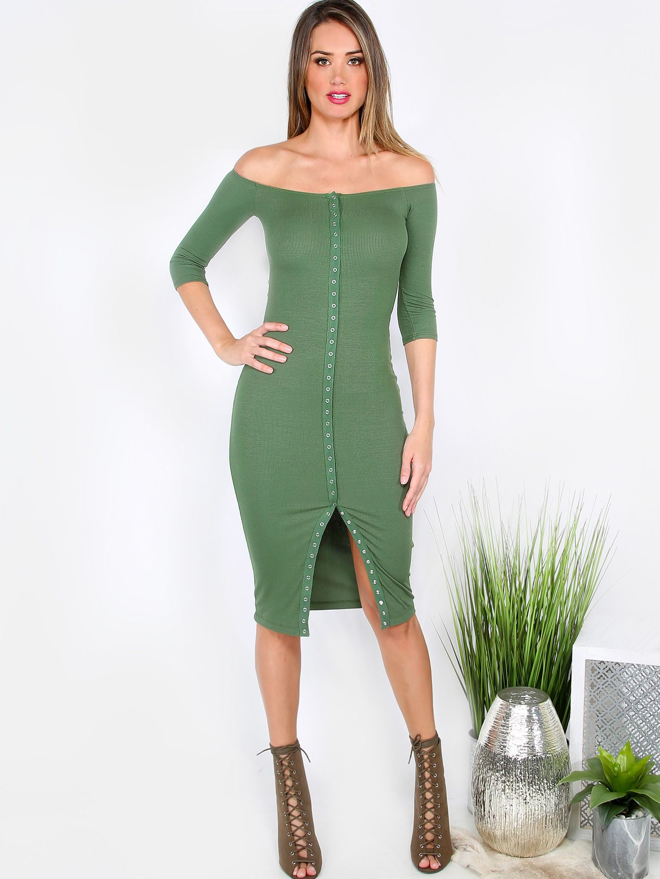 Online shopping for Ribbed Button Down Midi Dress OLIVE from a great  selection of women's fashion